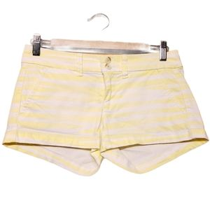 American Eagle Yellow Striped Stretch Short Shorts